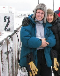 Paula (left) and Alisha in Churchill, Manitoba to see the Polar Bears. Jim Baldwin, 2008.